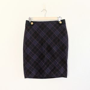 The Limited Blue & Black Plaid Pencil Skirt